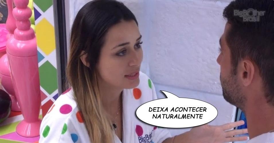 """""""DEIXA ACONTECER NATURALMENTE"""", Letícia, cantarolando, depois de mais uma DR com Marcelo sobre querer ou não ficar com alguém na casa"""