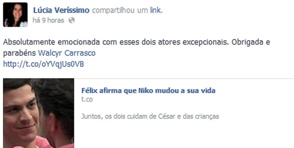 1.fev.2014 - Lúcia Veríssimo comenta o fim de