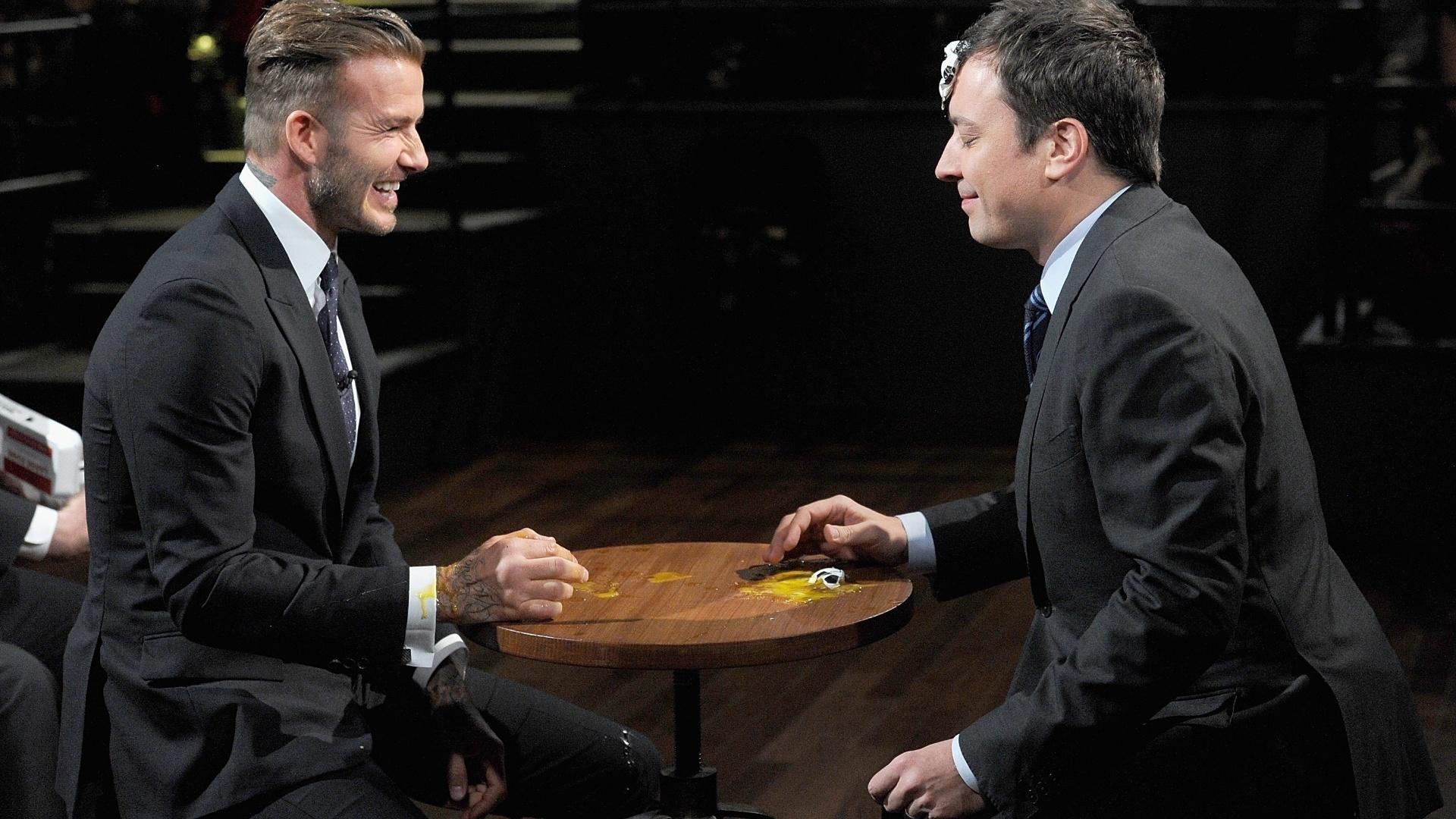31.jan.2014 - David Beckham vai ao programa