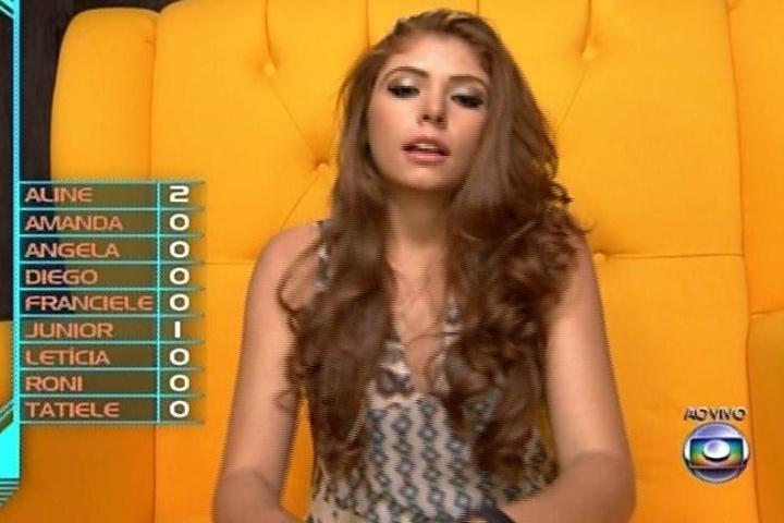 02.fev.2014 - Amanda é chamada ao confessionário e votou no Diego por questão de afinidade