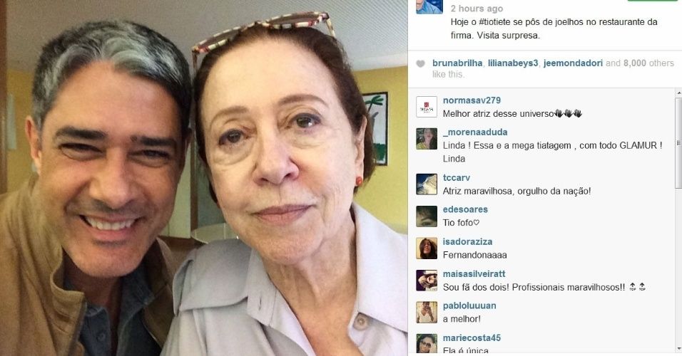 03.fev.2014- William Bonner tieta Fernanda Montenegro em restaurante do Projac.