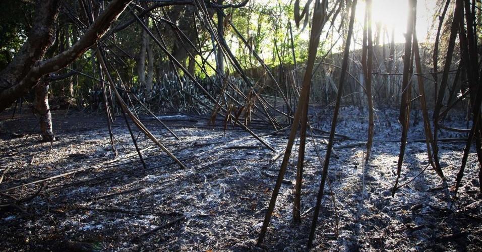 3.fev.2014 - Fogo atinguiu a Chácara Casa do Sol, onde morou a escritora Hilda Hilst, no Parque Xangrilá, em Campinas