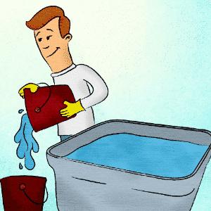 Utilize como de costume a água contida na caixa, a fim de esvaziá-la, ou armazene em baldes e vasilhames parte dessa água para ser usada enquanto a higienização estiver em curso - Erick Souza/ Arte UOL