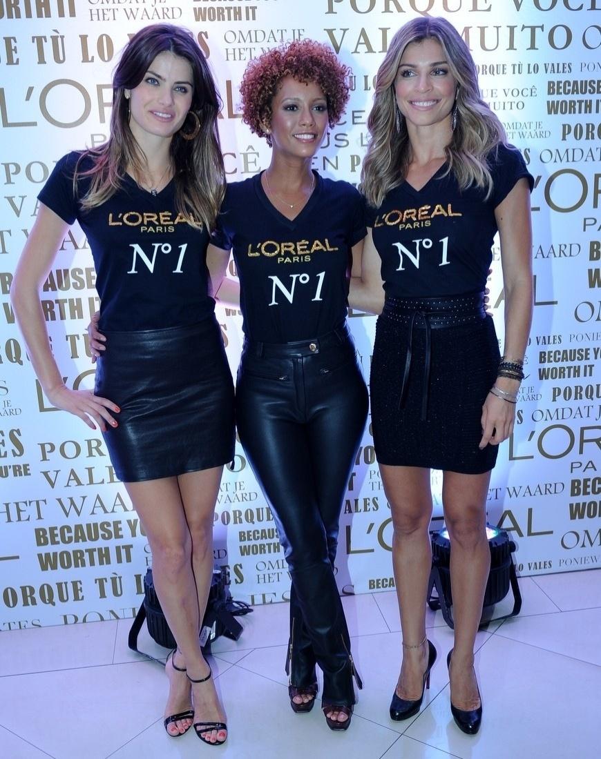 4.fev.2014 - Grazi Massafera, Isabeli Fontana e Taís Araújo participaram de um evento promovido por uma marca de cosméstico, em São Paulo