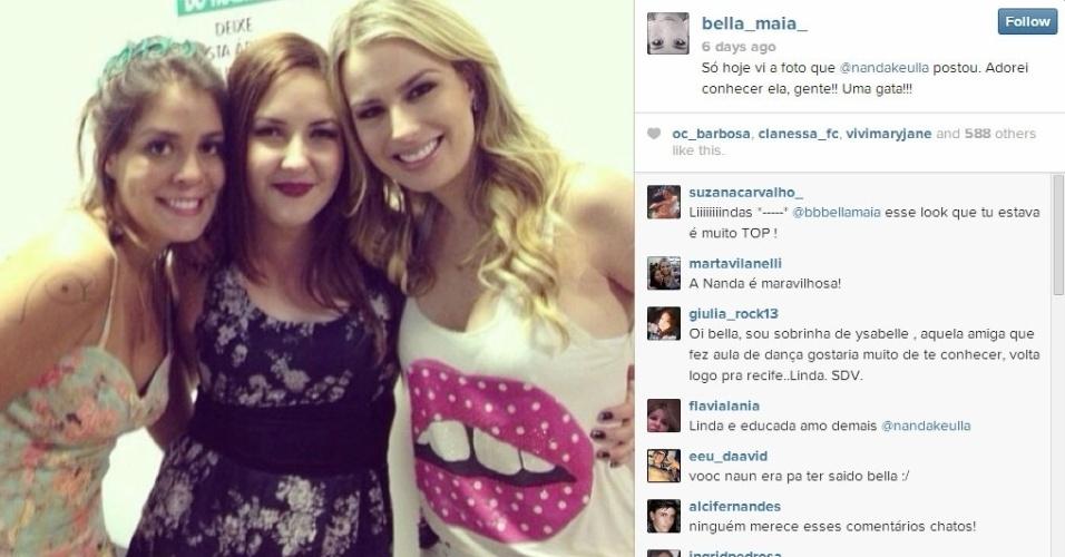 Bella posa para foto ao lado da ex-BBB Fernanda Keulla