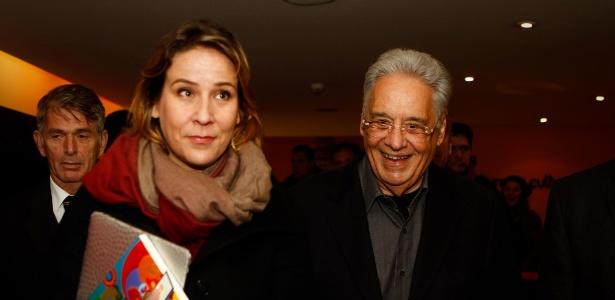 """O sociólogo Fernando Henrique Cardos e Patrícia Kundrat Scarlat, durante o lançamento do livro """"Pensadores que Inventaram o Brasil"""", em São Paulo"""