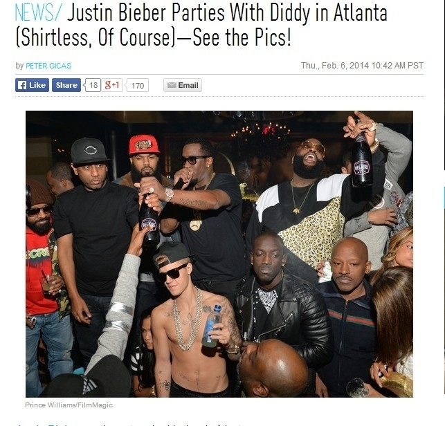 07.fev.2014 - Justin Bieber curte festa com Sean