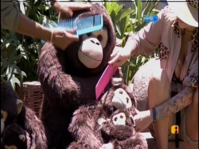 7.fev.2014 - Valter e Clara penteiam macaco em castigo do monstro