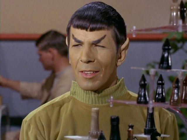 """Leonard Nimoy como o Sr. Spock em cena da série """"Star Trek"""""""