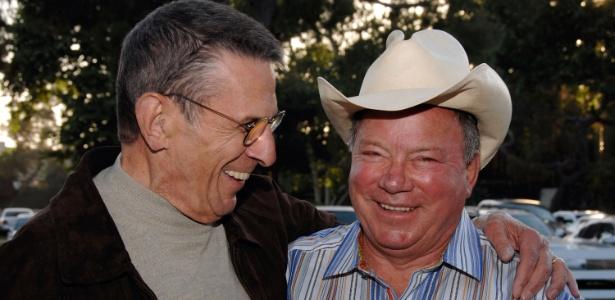 25.abr.2009 - Leonard Nimoy e William Shatner em evento cinematográfico na Califórnia