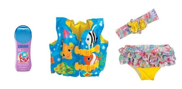 montagem para destacar álbum de Gravidez e Filhos com produtos para o bebê ir à piscina ou à praia