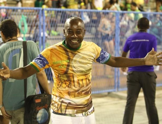 8.fev.2014 - Nando Cunha durante o ensaio técnico da escola de samba Império da Tijuca, na noite deste sábado (8), na Praça da Apoteose, no Rio de Janeiro