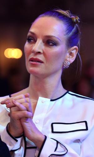 10.fev.2014 - A atriz norte-americana Uma Thurman durante a cerimônia de gala da organização Cinema For Peace
