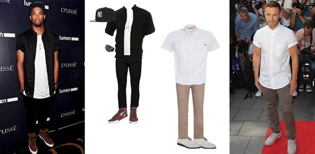 Camisas de manga curta ficam bem em combinações casuais e também mais arrumadas - Getty Images/Divulgação / Arte/UOL