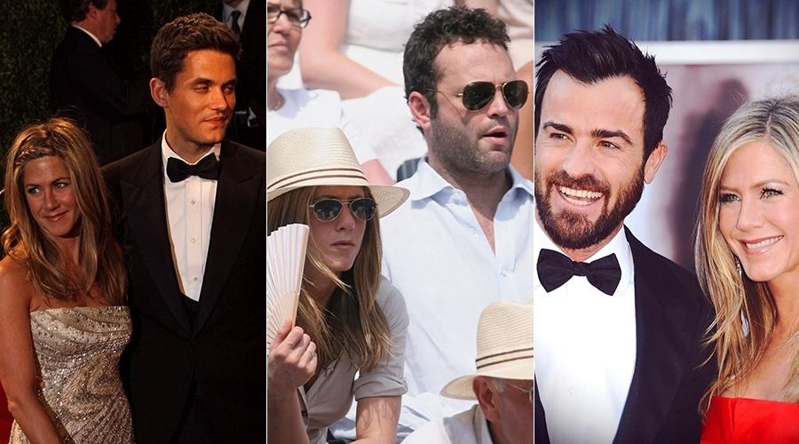 Jennifer Aniston em três momentos: com John Mayer, Vince Vaughn e Justin Theroux