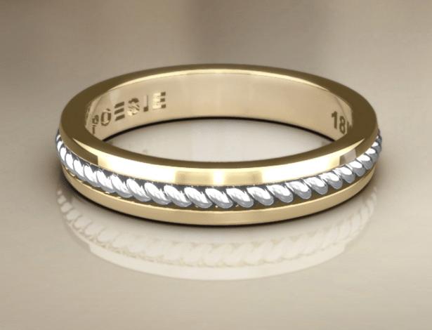 Aliança Cordage em ouro amarelo e branco 18k; da Poésie (www.poesie.com.br), por R$ 2.388 (unidade). Disponibilidade e preço pesquisados em fevereiro de 2014 e sujeitos a alteração