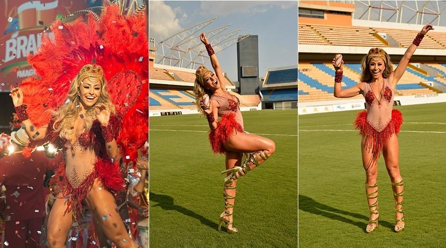 8.fev.2014 - Sabrina Sato gravou comercial para a marca de cerveja Brahma no Maracanã, no Rio