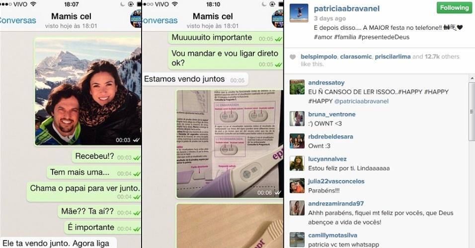 9.fev.2014 - Patrícia Abravanel mostra como deu a notícia da gestação para os pais.