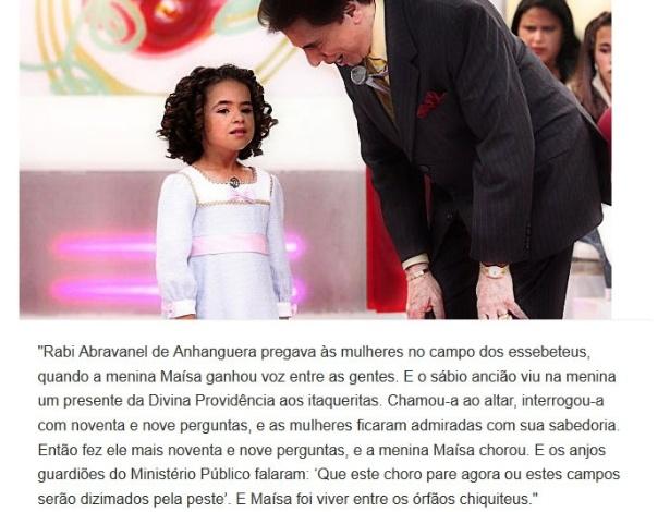 Versículo sobre episódio em que Silvio Santos fez Maísa chorar no palco