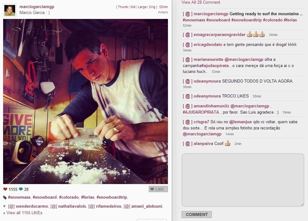 13.fev.2014 - Márcio Garcia se prepara para tirar férias no Colorado, nos Estados Unidos, onde vai praticar snowboard, um de seus esportes favoritos. O ator postou imagem em sua conta no Instagram preparando seus equipamentos para levar para a viagem