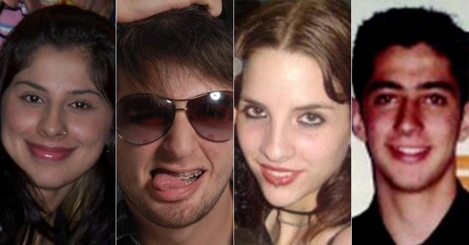 Montagem com fotos antigas de Vanessa, Cássio, Clara e Marcelo