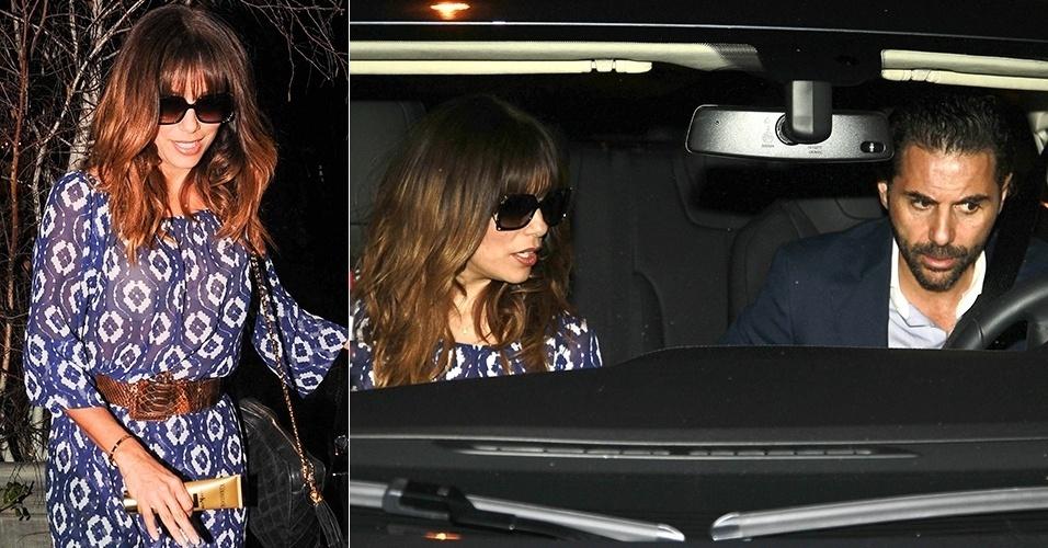 13.fev.2014 - Eva Longoria corta os cabelos e aparece com uma franja ao sair de um salão de cabeleireiro em West Hollywood