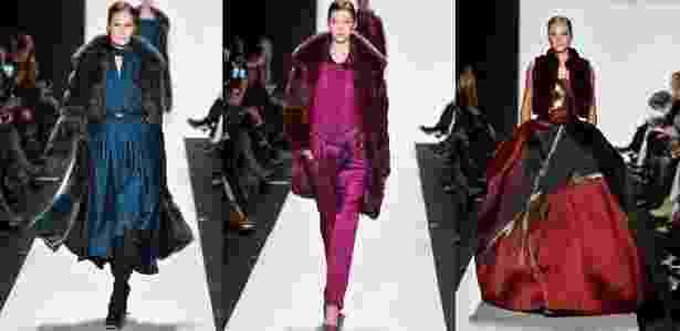 Casacos e jaquetas de pele de chinchila movimentam a moda há décadas. Na imagem, as peças na coleção de inverno da grife Dennis Basso, em desfile realizado em fevereiro - Getty Images