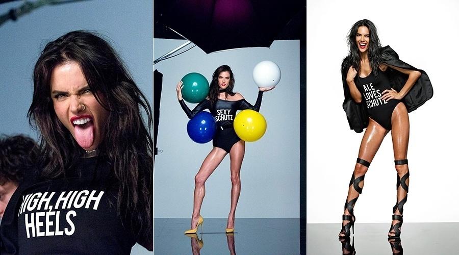 17.fev.2014 - Alessandra Ambrósio foi eleita a garota propaganda de uma marca de calçados feminina. A top brasileira exibiu a boa forma vestindo maiô preto