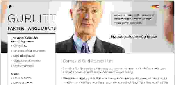 Página na internet criada por pessoas próximas a Cornelius Gurlitt para defender o colecionador alemão acusado de possuir obras roubadas por nazistas - Reprodução