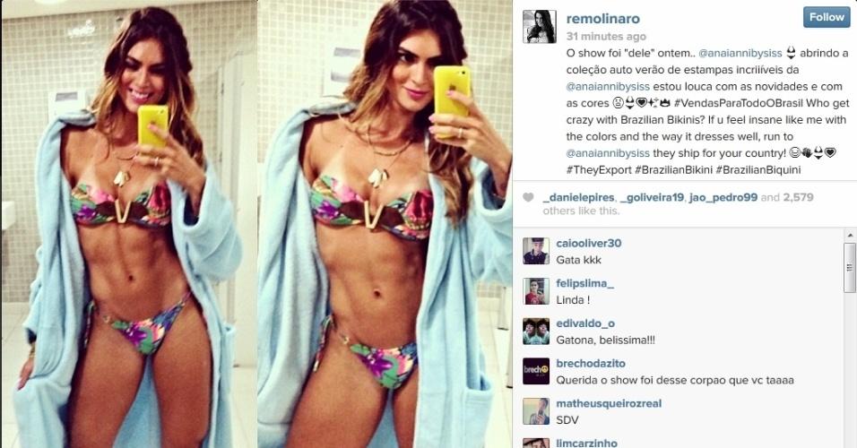 17.fev.2014 - Renata Molinaro exibe barriga definida em foto de biquíni