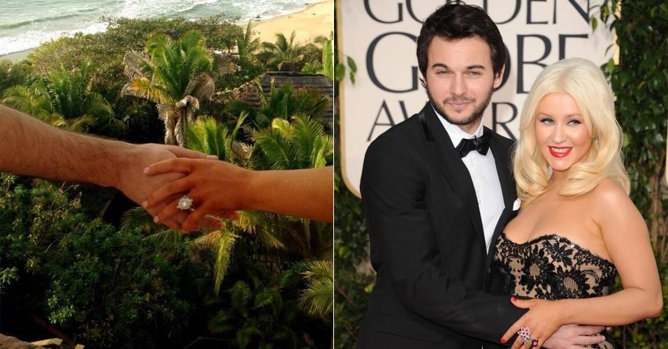 15.fev.2014 - Em sua conta no Twitter, Christina Aguilera postou imagem do anel de noivado que ganhou do namorado, Matthew Rutler. Na rede social, a cantora escreveu: