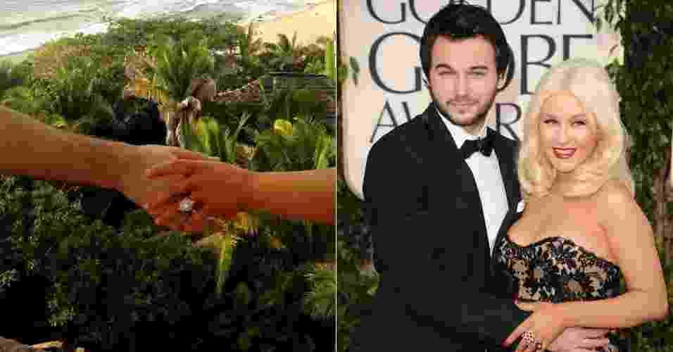"""15.fev.2014 - Em sua conta no Twitter, Christina Aguilera postou imagem do anel de noivado que ganhou do namorado, Matthew Rutler. Na rede social, a cantora escreveu: """"Ele perguntou e eu disse..."""". O casal se conheceu em 2010, durante as filmagens do filme """"Burlesque"""". À dir., Christina e o namorado no tapete vermelho do Golden Globe, em 2011 - undefined"""