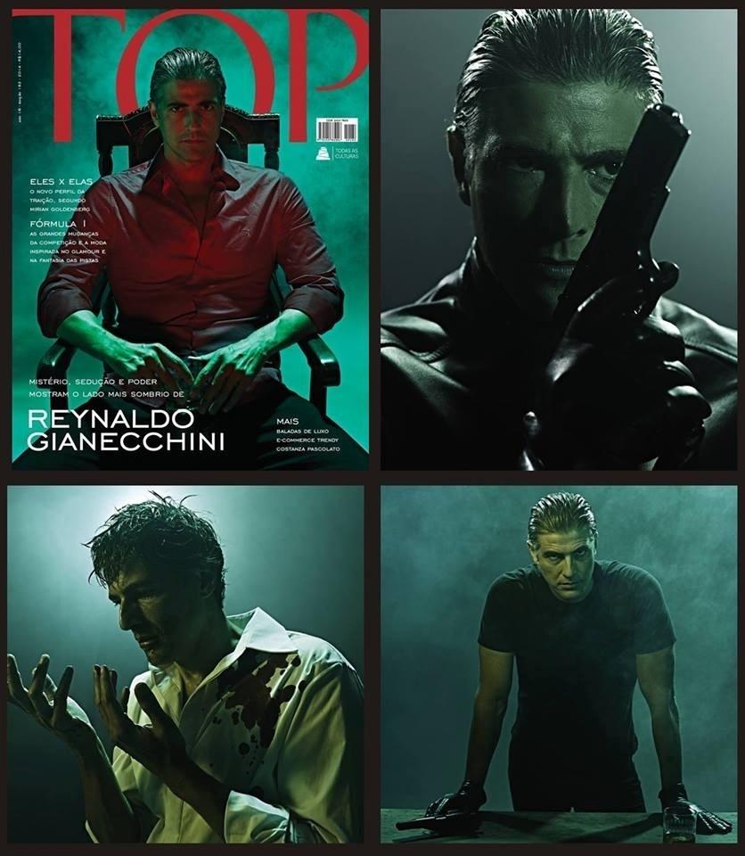 19.fev.2014 - Reynaldo Gianecchini encarnou um matador de aluguel para a capa de uma revista de luxo e lifestyle