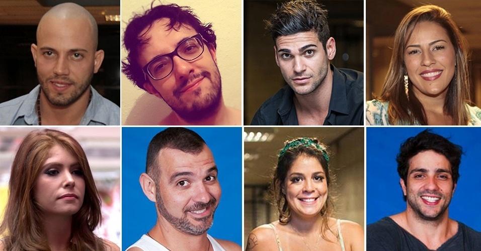 Montagem oito primeiros eliminados do BBB14: João Almeida, Alisson, Rodrigo, Princy, Amanda, Vagner, Bella e Junior