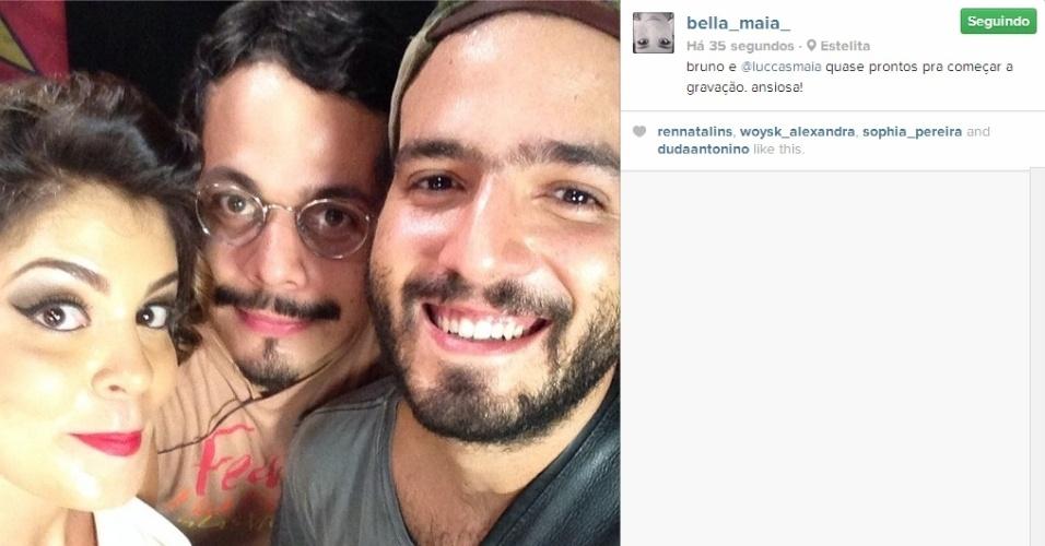 20.fev.2014 - Bella já havia revelado que fará uma participação especial na gravação da banda do marido, Bruno Lins. A ex-BBB publicou uma foto com a legenda: