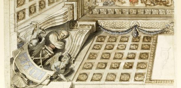 """Imagem divulgada pelo Museu do Louvre mostra um desenho de Charles le Brun do projeto para o quarto de Pomponne de Bellièvre no palácio dos primeiros presidentes do Parlamento de Paris; a imagem integra a exposição """"Peupler les cieux"""" - EFE"""