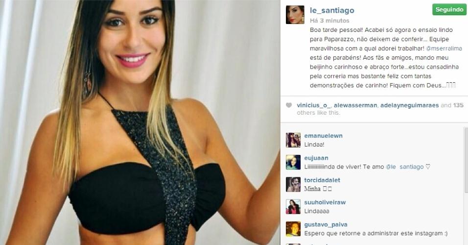 20.fev.2014 - Letícia publica foto após ensaio para o Paparazzo e agradece os amigos e fãs: