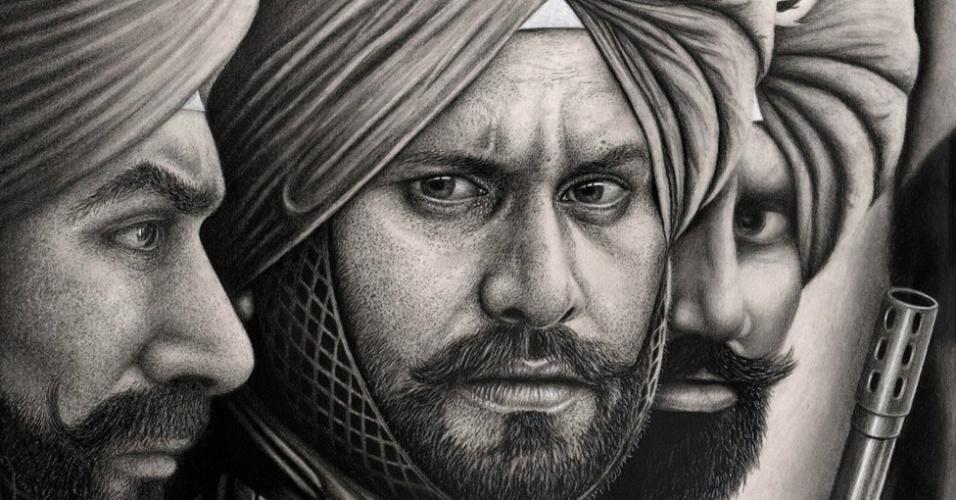 Desenho feito pelo britânico Raj Singh Tattal, diagnosticado com Síndrome de Asperger