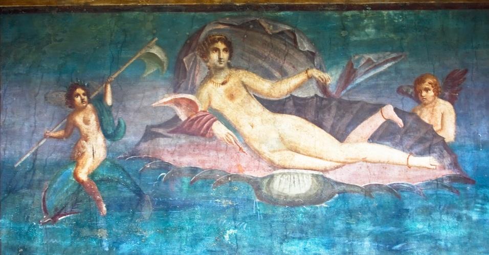 Afrescos preservados podem ser observados na cidade de Pompeia, na Itália