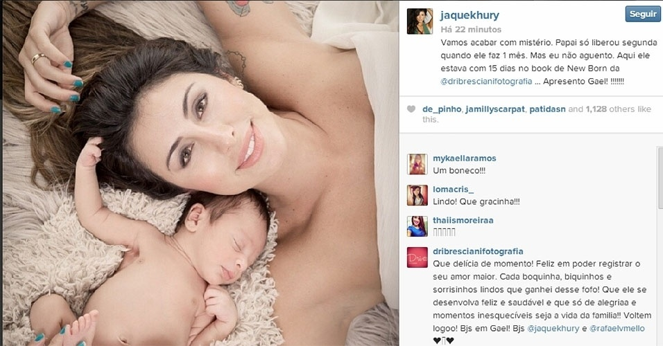 21.fev.2014 - Jaque Khury mostra pela primeira vez o filho Gael. A modelo postou três fotos do bebê em seu Instagram.