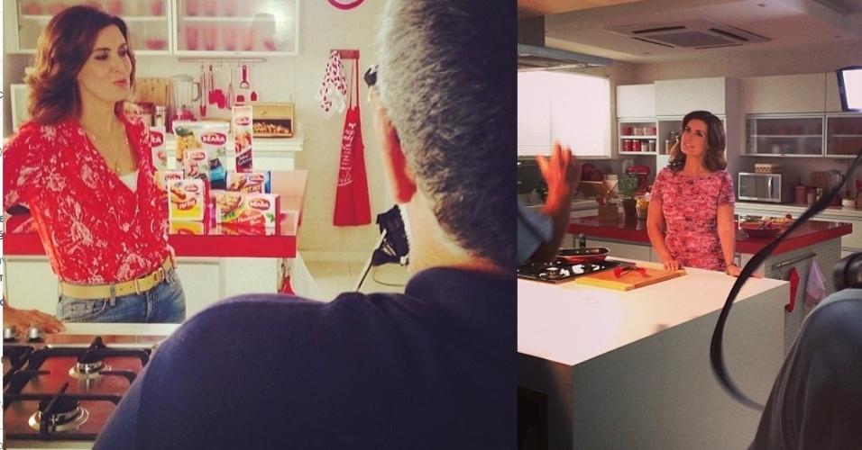 """21.fev.2014- Fátima Bernardes mostra foto dos bastidores de gravação de campanha publicitária que deve ir ao ao no domingo no intervalo do """"Fantástico"""""""