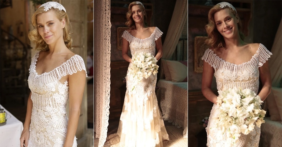 Casamento de Iolanda (Carolina Dieckmann) na novela Joia Rara (Globo).