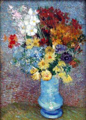 """Reprodução da pintura """"Flores em um Vaso Azul"""" (1887), de Van Gogh, que foi analisada usando uma técnica em microscópio - Reprodução"""