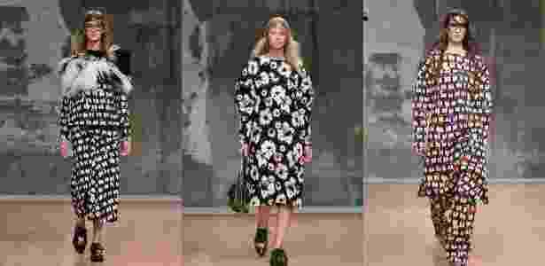 23.fev.2014 - A Marni apresentou coleção ultraestampada para o Inverno 2014 na semana de moda de Milão - AFP/AP