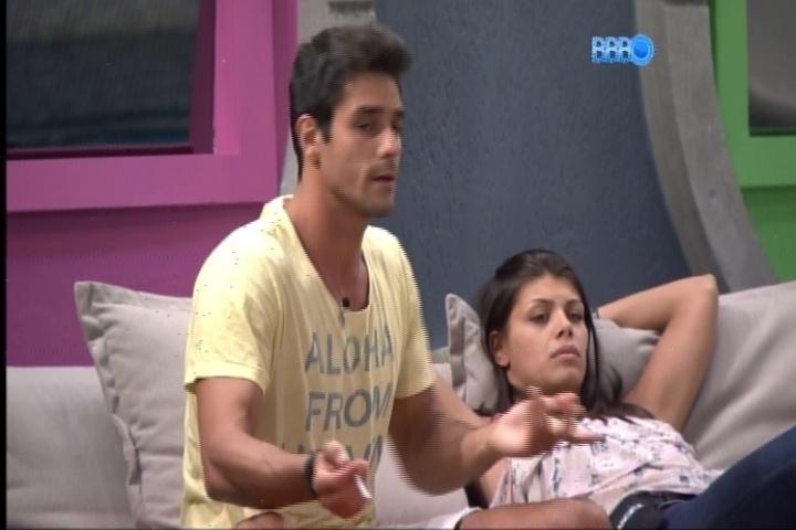 24.fev.2014 - Diego ficou revoltado por ter sido indicado ao paredão por Aline.