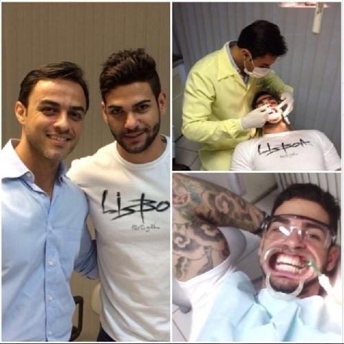 """24.fev.2014 - Rodrigo posta foto e registra o seu dia no dentista. """"Cuidando da saúde bucal com meu dentista@marcioguedes. #marcioguedes #dentista #clareamentodentario #estetica #bbb14 #rodrigoportuga"""""""