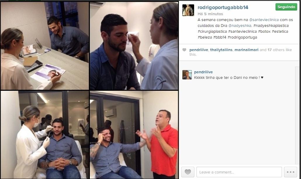 24.fev.2014 - Rodrigo posta montagem em uma clínica de estética ao lado do ex-BBB Daniel.