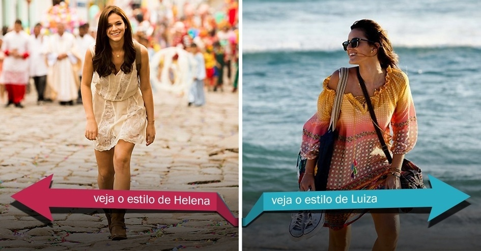 Clique na seta da esquerda para ver o estilo Bruna Marquezine interpretando de Helena, em 1990, e na da direita para ver seu estilo como Luiza