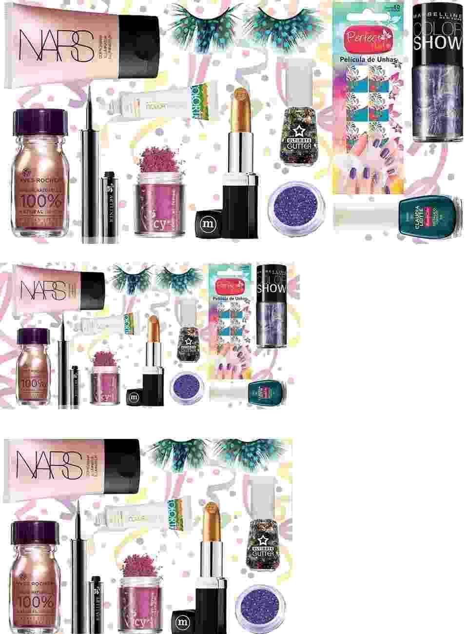 Guia de compras: produtos com brilho para o carnaval - Divulgação/Montagem UOL