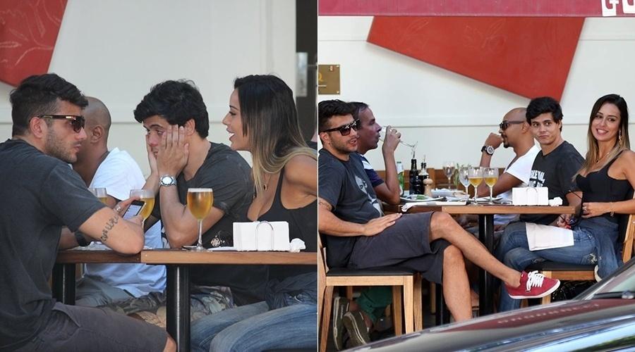 26.fev.2014 - Os ex-BBB's Junior e Letícia almoçaram juntos em um restaurante do Leblon, zona sul do Rio